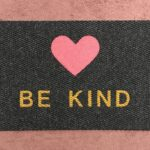 BE KIND - pink heart, tan on charcoal