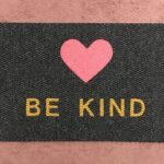 BE KIND-tan on charcoal w pink heart