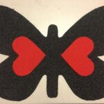 BUTTERFLY-RAW CUTOUT-charcoal w red hearts