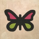BUTTERFLY-RAW CUTOUT-pink and pea green