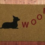 CHIHUAHUA WOOF-black on tan, red letters