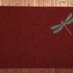 DRAGONFLY SMALL-grey on red