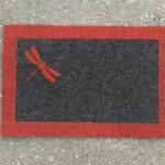 DRAGONFLY SMALL-red on charcoal w border