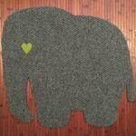 ELEPHANT-RAW CUTOUT-grey w pea green heart eye