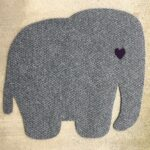 ELEPHANT-RAW CUTOUT-grey w purple heart eye