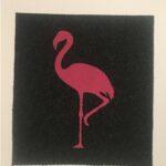 FLAMINGO-pink on charcoal
