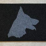 German Shepherd Head - grey on black
