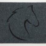 HORSE HEAD CLASSIC-charcoal on grey