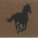 HORSE RUNNING-black on brown