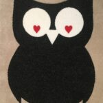 OWL-RAW CUTOUT-charcoal w white and red heart eyes
