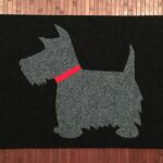 SCOTTIE 2-grey on black w red collar