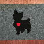 YORKIE-black on grey w red heart